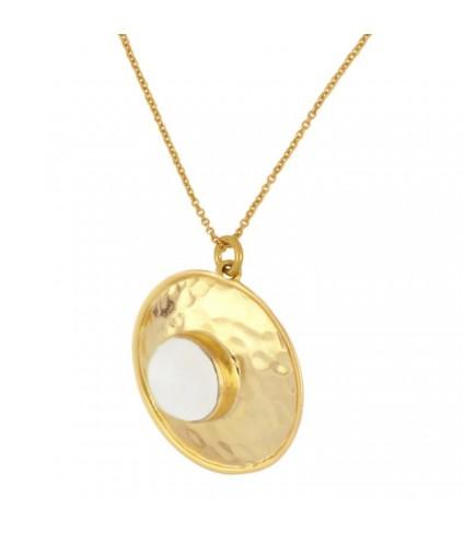Collar Medalla Piedra Luna oro