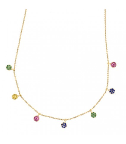 Collar Flores Multicolor oro