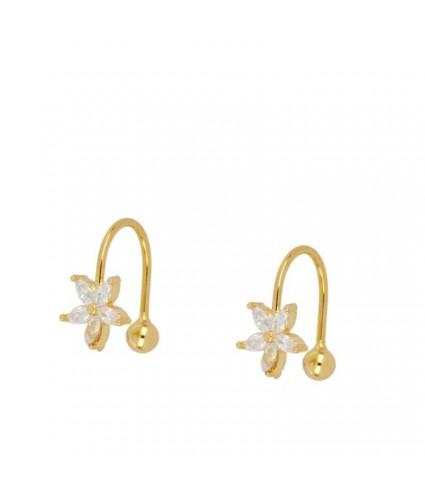 Ear Cuff Flor Circonitas oro (UNIDAD)