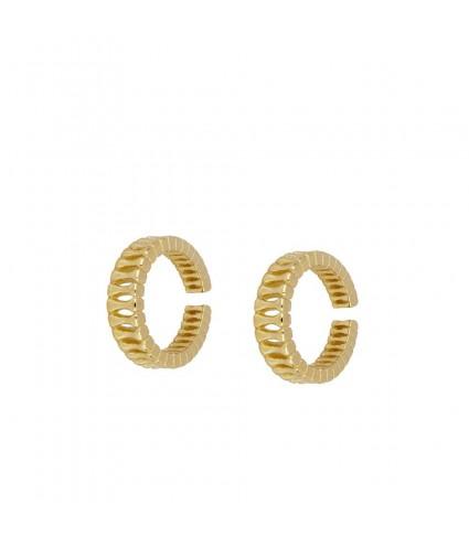 Stripes Gold Ear Cuff_model