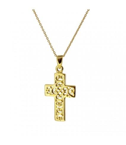Collar Cruz calada oro
