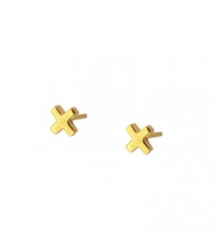 Pendiente Cruz Mini oro (UNIDAD)