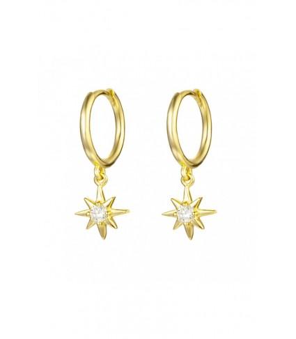 Aro con Estrella & Circonita oro (UNIDAD)