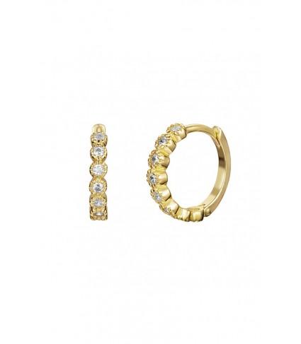 Pendiente Aro 13mm Circonitas oro (UNIDAD)