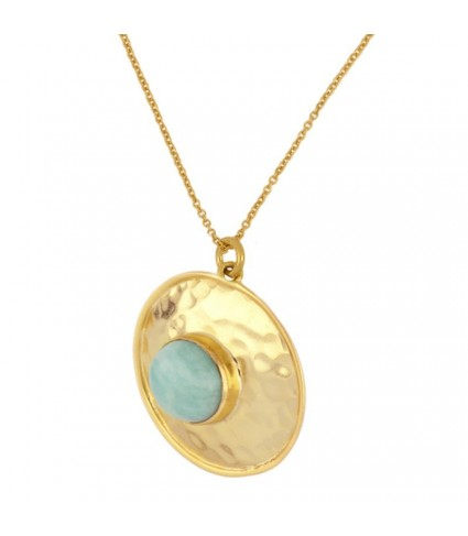 Collar Medalla Amazonita oro